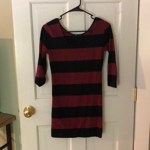 Black and maroon striped dress